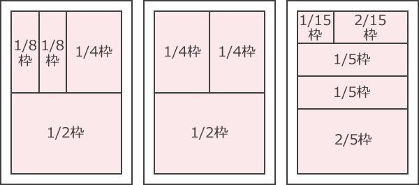 地域みっちゃく生活情報誌の枠サイズ表